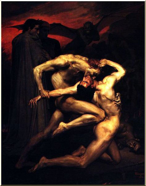 Dante and Virgil in Hell, Oil by William Adolphe Bouguereau (1825-1905, France)