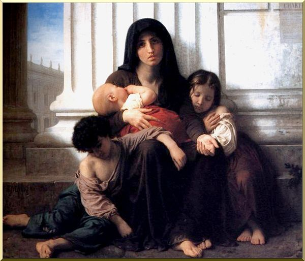Indigent Family (Charity), Oil by William Adolphe Bouguereau (1825-1905, France)