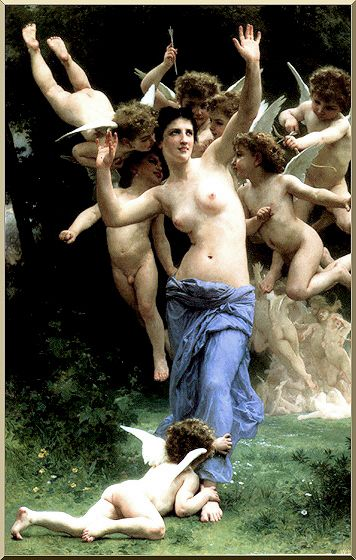 Invading Cupid's Realm, Oil by William Adolphe Bouguereau (1825-1905, France)