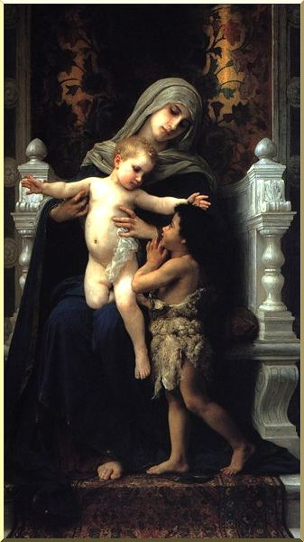 Madonna and Child with St. John the Baptist, Oil by William Adolphe Bouguereau (1825-1905, France)