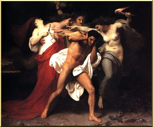 Orestus Pursued by the Furies, Oil by William Adolphe Bouguereau (1825-1905, France)