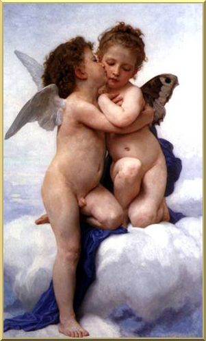 The First Kiss, Oil by William Adolphe Bouguereau (1825-1905, France)