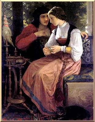 The Proposal, Oil by William Adolphe Bouguereau (1825-1905, France)