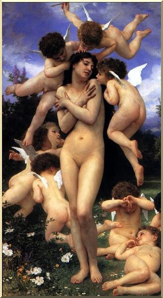 The Return of Spring, Oil by William Adolphe Bouguereau (1825-1905, France)
