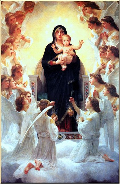 The Virgin With Angels, Oil by William Adolphe Bouguereau (1825-1905, France)