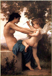 Order Art Reproduction : Young Girl Defending Herself Against Eros by William Adolphe Bouguereau (1825-1905, France) | WahooArt.com