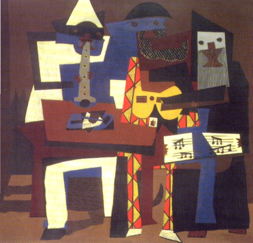The Three Musicians, Oil by Pablo Picasso (1881-1973, Spain)
