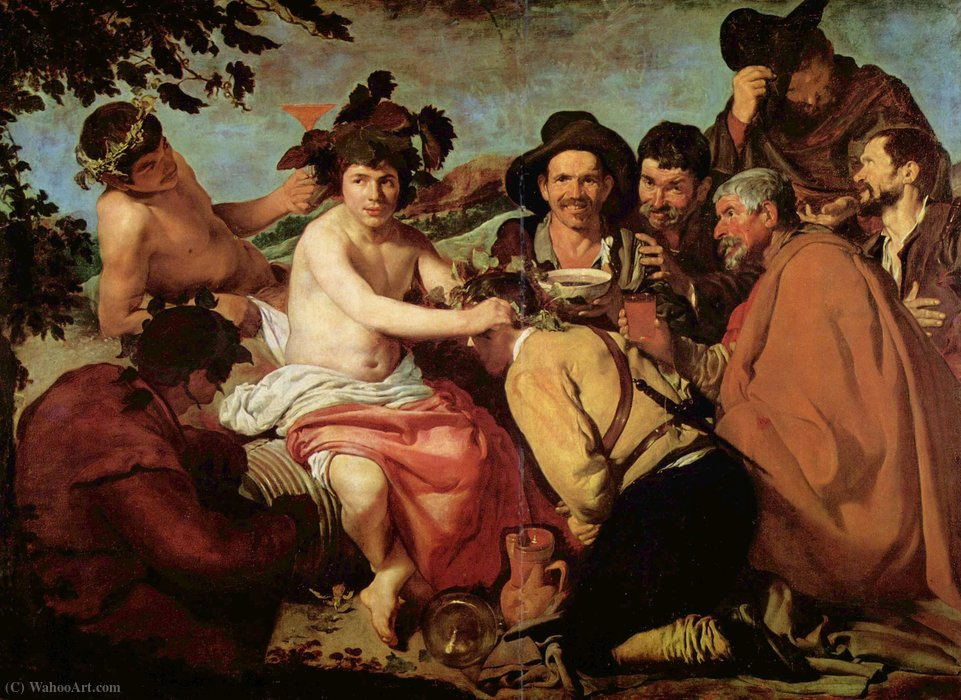 Bachus, Oil by Diego Velazquez (1599-1660, Spain)