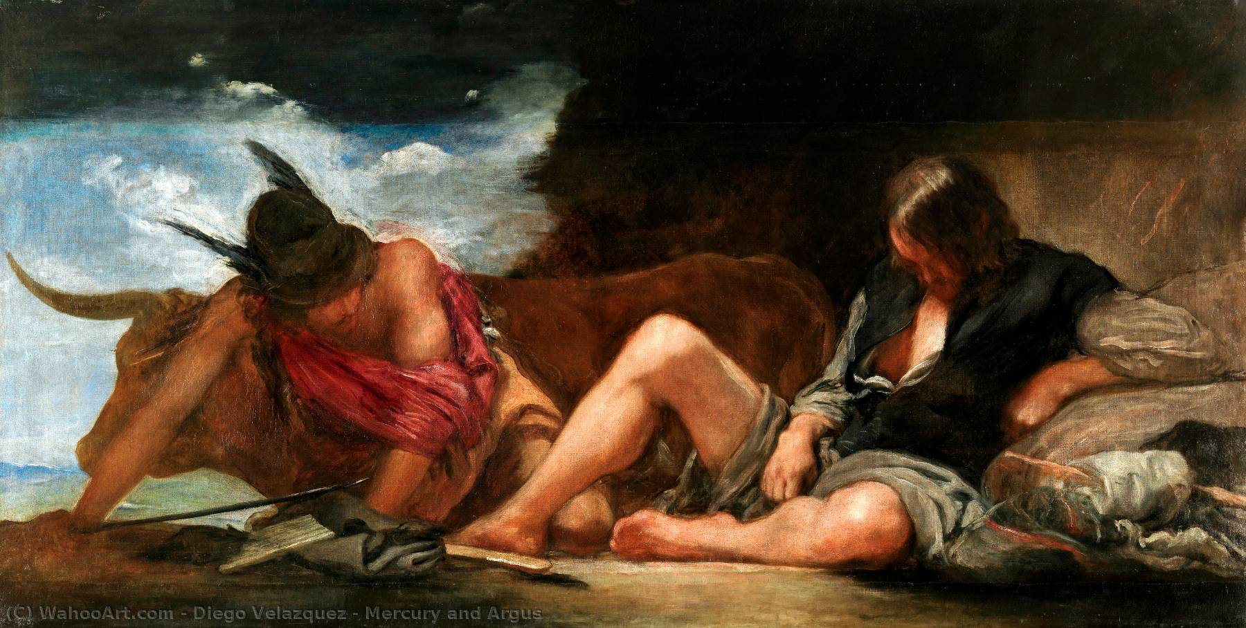 Mercury and Argus, Oil On Canvas by Diego Velazquez (1599-1660, Spain)