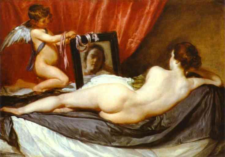 Venus at Her Mirror by Diego Velazquez (1599-1660, Spain) | Oil Painting | WahooArt.com