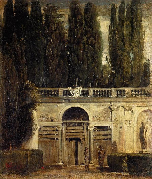 Villa Medici in Rome (Facade of the Grotto Logia), Oil On Canvas by Diego Velazquez (1599-1660, Spain)