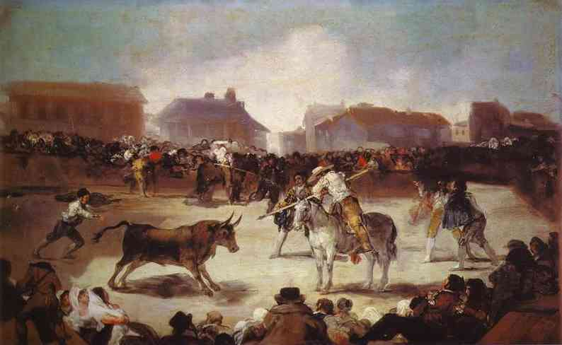 A Village Bullfight, Oil by Francisco De Goya (1746-1828, Spain)