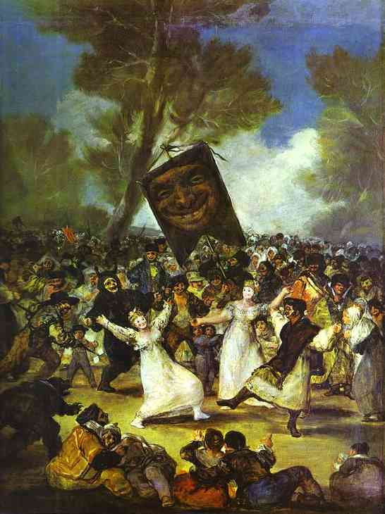 The Burial of the Sardine, Oil by Francisco De Goya (1746-1828, Spain)