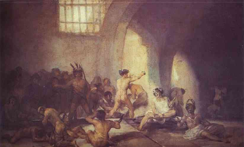 The Madhouse, Oil by Francisco De Goya (1746-1828, Spain)