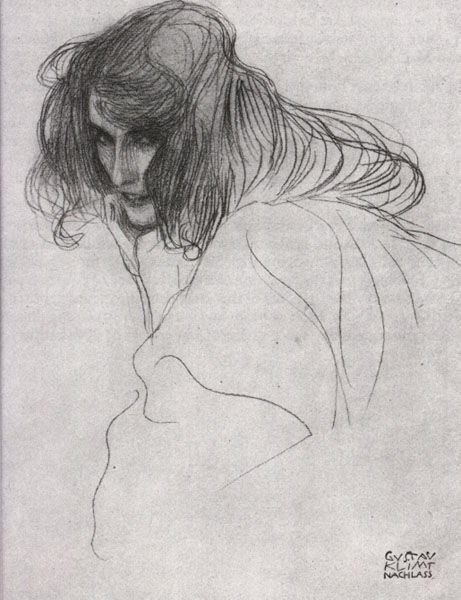 Study for `Lewdness` from the Beethoven Frieze, 1898 by Gustav Klimt (1862-1918, Austria) | Paintings Reproductions Gustav Klimt | WahooArt.com