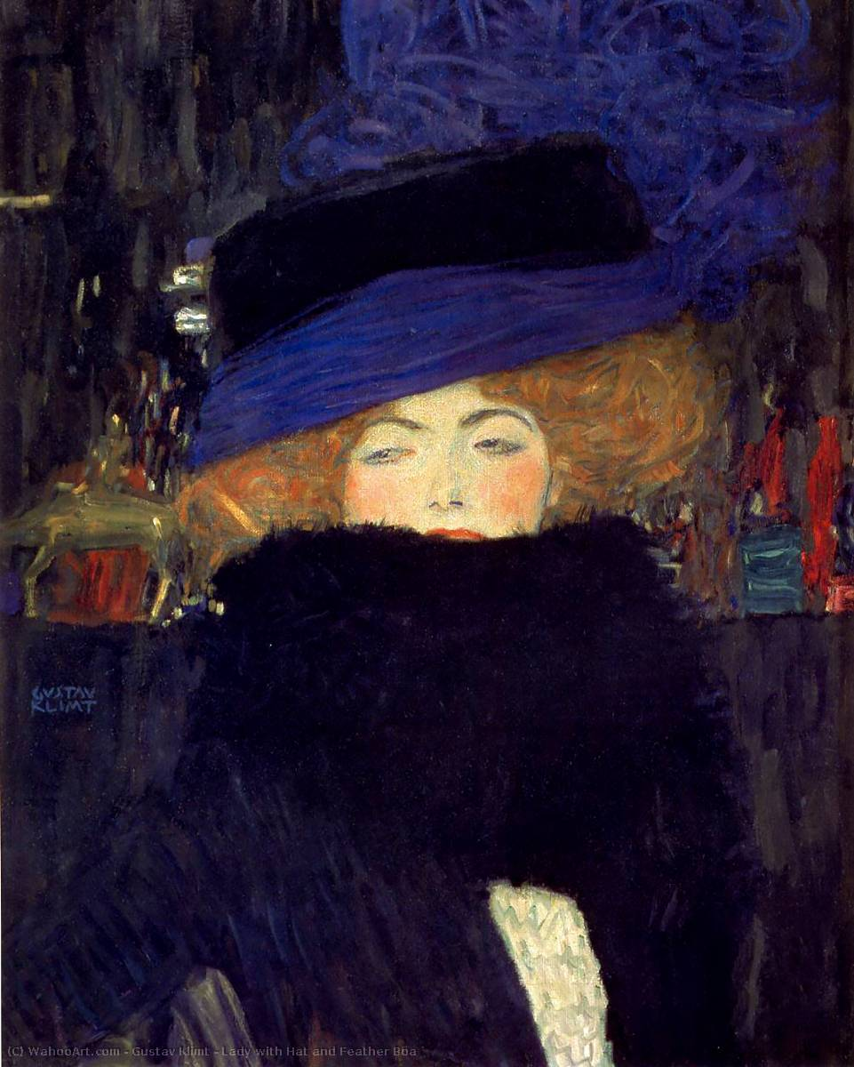 Order Paintings Reproductions | Lady with Hat and Feather Boa, 1909 by Gustav Klimt (1862-1918, Austria) | WahooArt.com