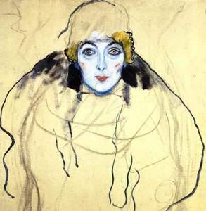 Gustav Klimt - Portrait of a lady en face(unfinished)