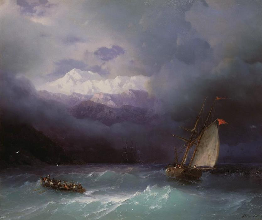 Stormy Sea, Oil On Canvas by Ivan Aivazovsky (1817-1900, Russia)