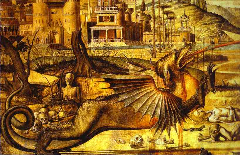 St. George and the Dragon, Oil by Vittore Carpaccio (1465-1526, Italy)