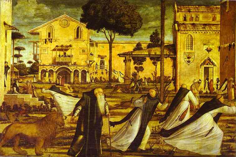St. Jerome Leads the Lion into the Monastery by Vittore Carpaccio (1465-1526, Italy) | WahooArt.com