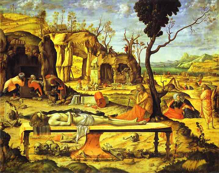 The Preparation for the Entombment of Christ (Meditation on the Dead Christ), Oil by Vittore Carpaccio (1465-1526, Italy)