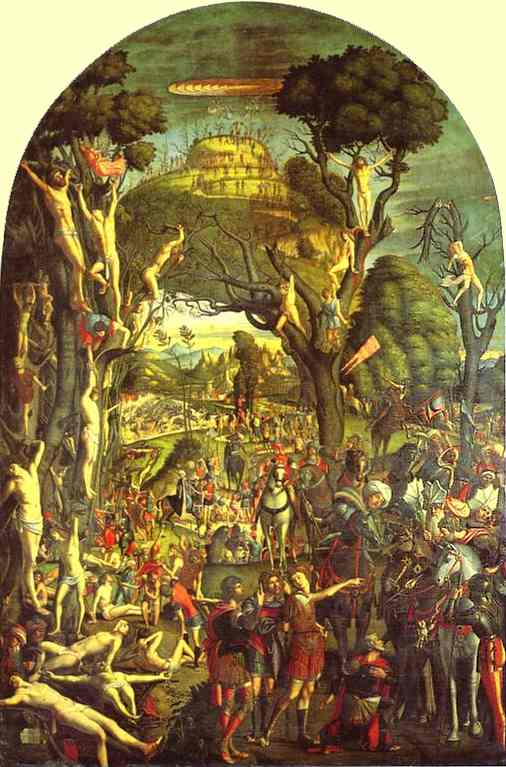 The Ten Thousand Crucifixions of Mount Ararat, Oil by Vittore Carpaccio (1465-1526, Italy)
