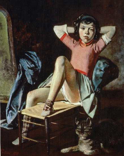 Girl with Cat, 1937 by Balthus (Balthasar Klossowski) (1908-2001, France) | Oil Painting | WahooArt.com