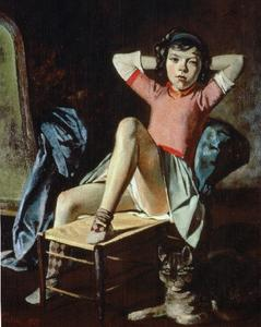 Balthus (Balthasar Klossowski) - Girl with Cat - (paintings reproductions)