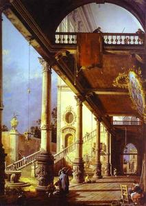 Giovanni Antonio Canal (Canaletto) - Capriccio of Colonade and the Courtyard of a Palace
