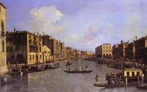 Giovanni Antonio Canal (Canaletto) - Grand Canal - Looking South-East from the Campo Santo Sophia to the Rialto Bridge