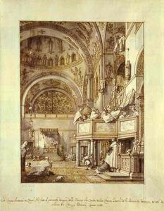 Giovanni Antonio Canal (Canaletto) - San Marco - the Crossing and North Transept, with Musicians Singing