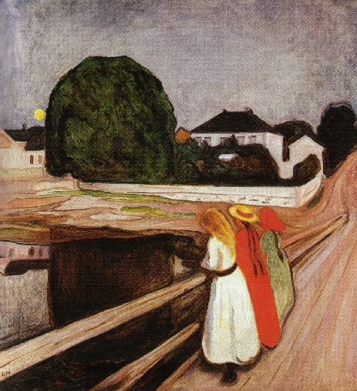 Buy Museum Art Reproductions | Three girls on the bridge, 1900 by Edvard Munch (1863-1944, Sweden) | WahooArt.com