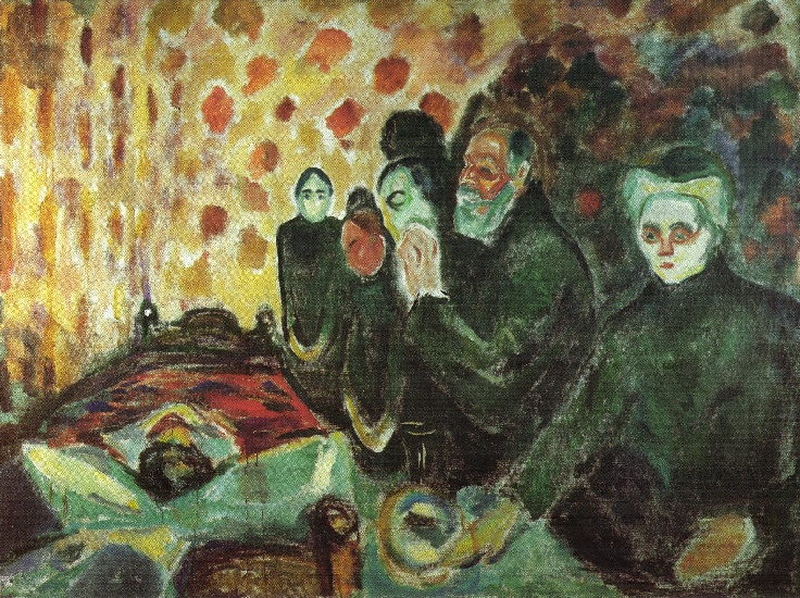 Near the bed of death (fever), Pastel by Edvard Munch (1863-1944, Norway)