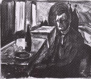 Order Art Reproductions | Self-portrait with bottle of wine, 1925 by Edvard Munch (1863-1944, Sweden) | WahooArt.com