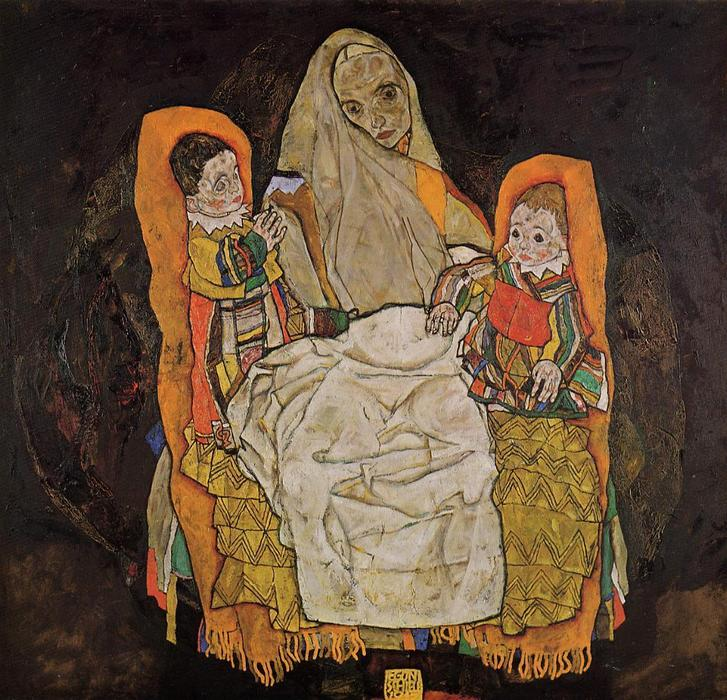 Mother with Two Children, Oil On Canvas by Egon Schiele (1890-1918, Croatia)