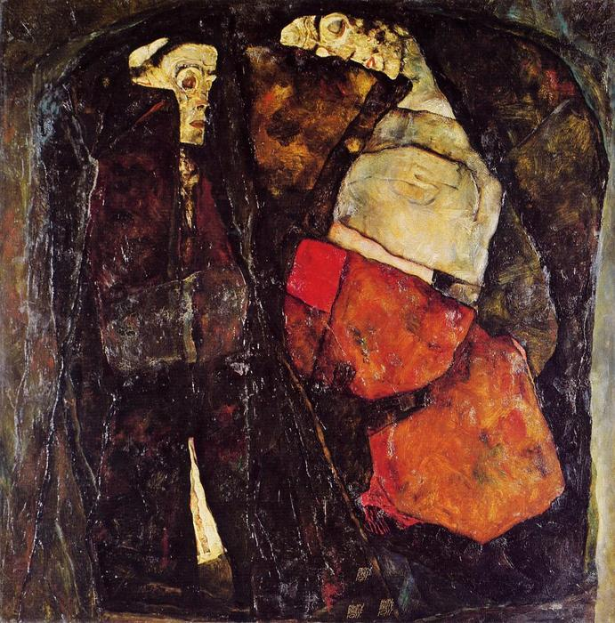 Pregnant woman and Death, 1911 by Egon Schiele (1890-1918, Croatia) | Museum Quality Reproductions | WahooArt.com