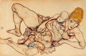 Egon Schiele - Reclining Woman with Blond Hair