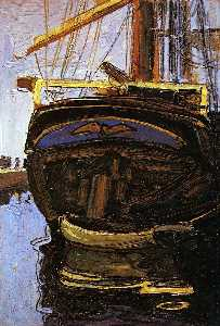 Egon Schiele - Sailing Ship with Dinghy
