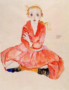 Egon Schiele - Seated Girl Facing Front