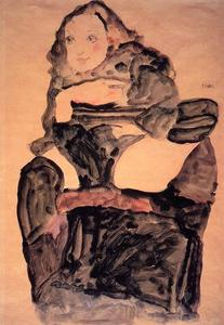 Egon Schiele - Seated Girl with Raised Left Leg