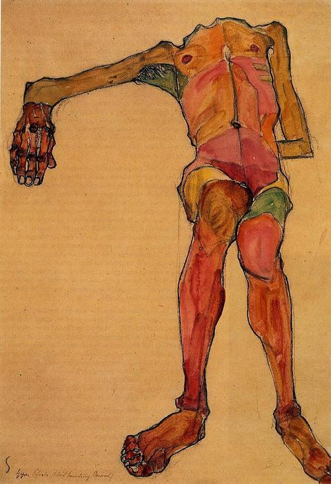 Seated Male Nude, Right Hand Outstretched, 1910 by Egon Schiele (1890-1918, Croatia) | Oil Painting | WahooArt.com