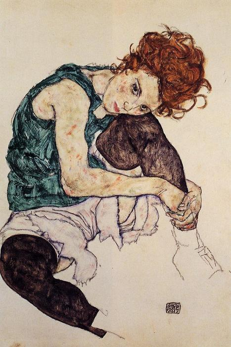 Seated Woman with Bent Knee, Crayon by Egon Schiele (1890-1918, Croatia)