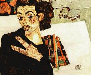 Egon Schiele - Self-Portrait with Black Vase and Spread Fingers