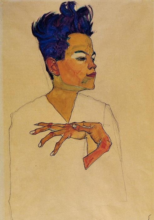 Self Portrait with Hands on Chest, Watercolour by Egon Schiele (1890-1918, Croatia)