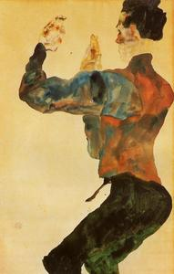 Egon Schiele - Self Portrait with Raised Arms, Back View