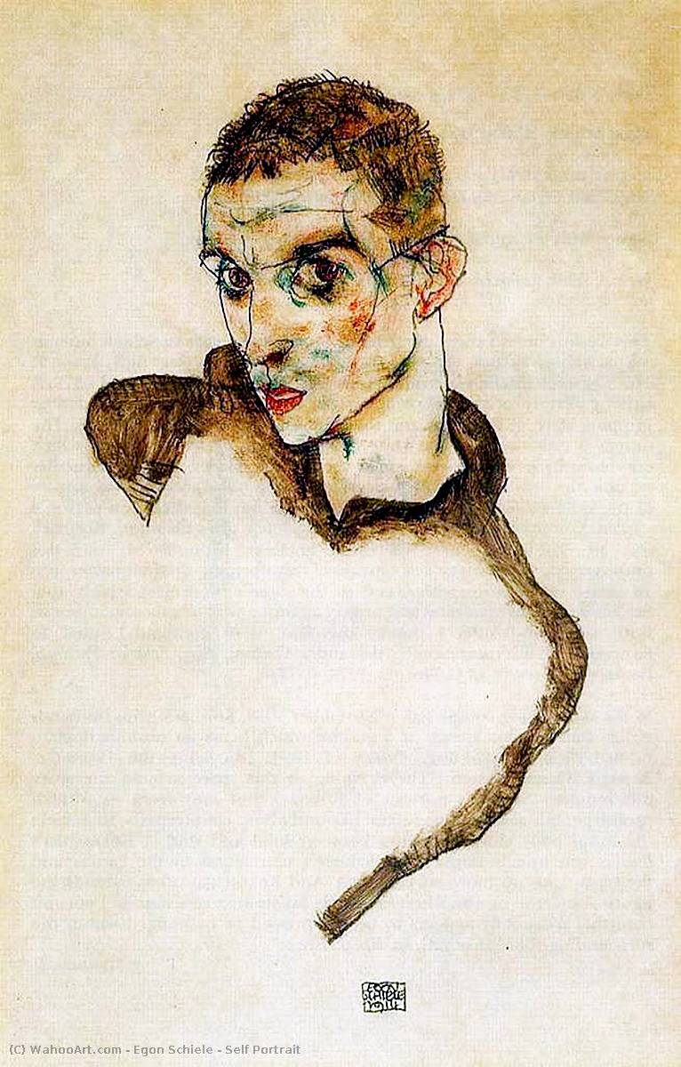 Order Reproductions | Self Portrait, 1912 by Egon Schiele (1890-1918, Croatia) | WahooArt.com