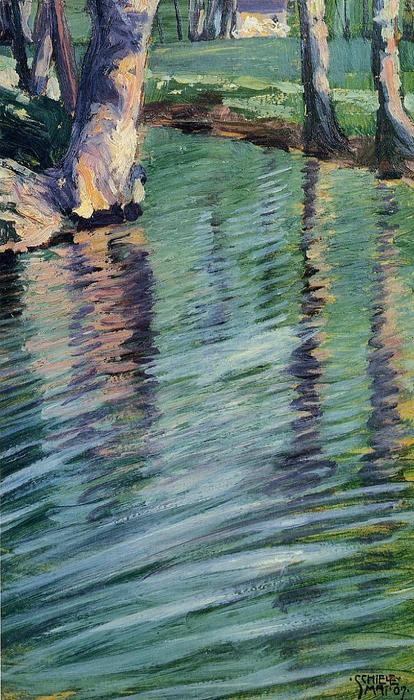 Trees Mirrored in a Pond, Oil by Egon Schiele (1890-1918, Croatia)