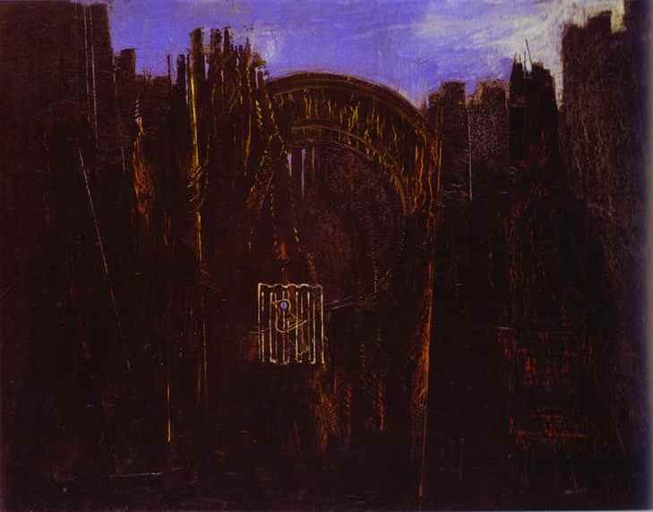 Cage, Forest and Black Sun, Oil by Max Ernst (1891-1976, Germany)