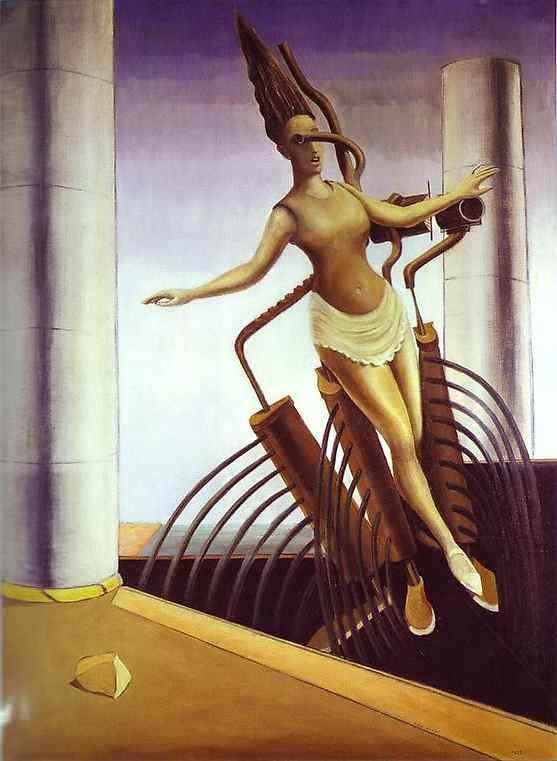 The Equivocal Woman (also known as The Teetering Woman), Oil by Max Ernst (1891-1976, Germany)