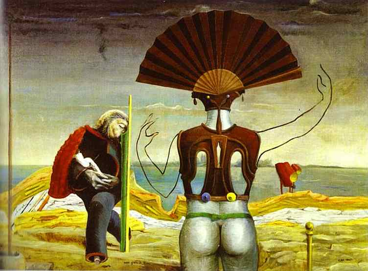Woman, Old Man and Flower, Oil by Max Ernst (1891-1976, Germany)